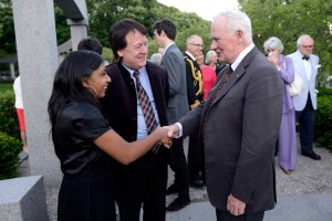 With Soprano Deanna Singh and Governor General David Johnston (23 June 2015, Hnatyshyn Foundation Evening, Rideau Hall rose garden)