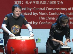 "James Wright, with student Drum Ensemble, Beijing, China (July 2018), Summer Institute (""Understanding China Through Music"")"